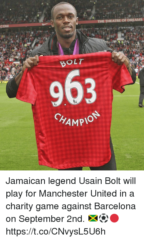 Bolting: BOLT  CHAMP  MPION Jamaican legend Usain Bolt will play for Manchester United in a charity game against Barcelona on September 2nd. 🇯🇲⚽️🔴 https://t.co/CNvysL5U6h