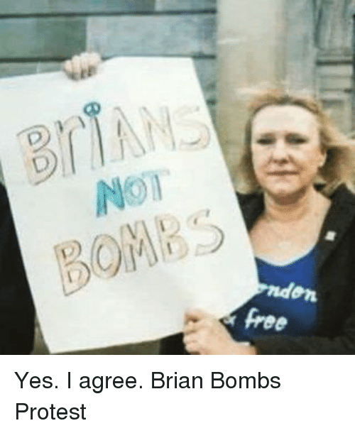 Memes, Protest, and Free: BOMBS  free Yes. I agree. Brian Bombs Protest