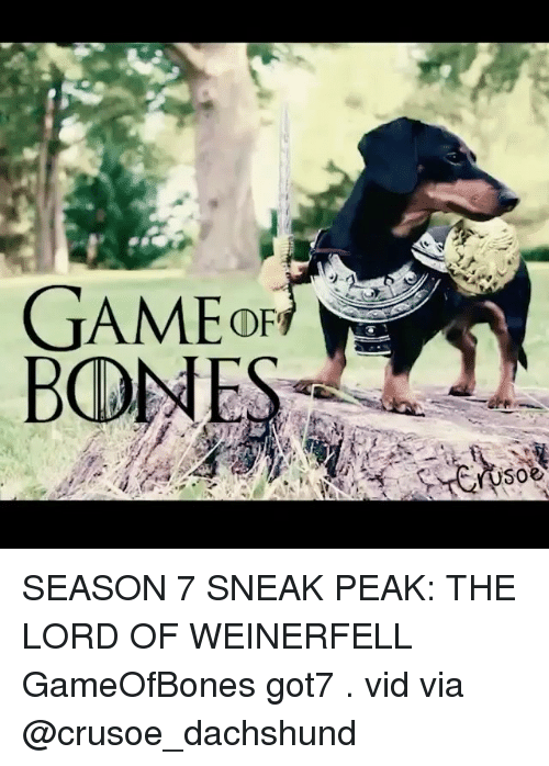Bones, Memes, and Got7: BONES SEASON 7 SNEAK PEAK: THE LORD OF WEINERFELL GameOfBones got7 . vid via @crusoe_dachshund