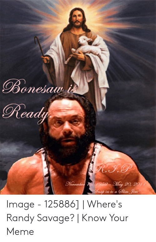 Wheres Randy: Bonesam i  Ready  R.I.P  November T5, 1952- May 20, 2011  Slm Jim  Onap in to a Image - 125886] | Where's Randy Savage? | Know Your Meme