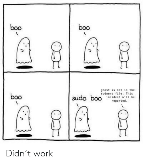 boo: boo  boo  ghost is not in the  sudoers file. This  incident will be  boo  sudo boo  reported. Didn't work