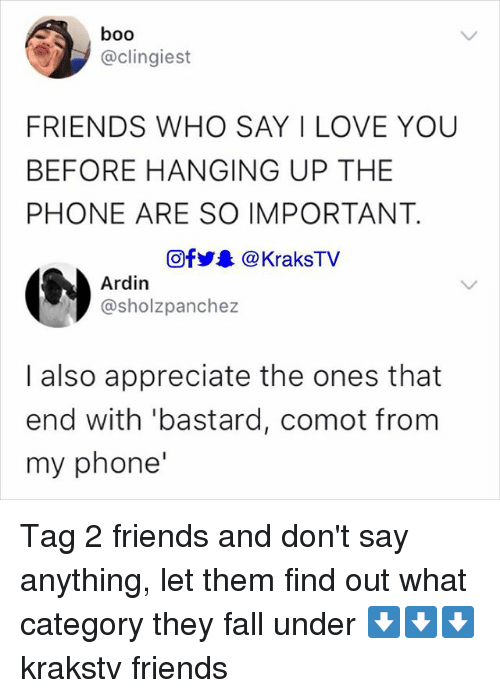 Boo, Fall, and Friends: boo  @clingiest  FRIENDS WHO SAY I LOVE YOU  BEFORE HANGING UP THE  PHONE ARE SO IMPORTANT  @f步舉@KraksTV  Ardin  @sholzpanchez  I also appreciate the ones that  end with 'bastard, comot from  my phone Tag 2 friends and don't say anything, let them find out what category they fall under ⬇️⬇️⬇️ krakstv friends