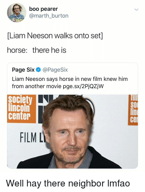 burton: boo pearer  @marth_burton  [Liam Neeson walks onto set]  horse: there he is  Page Six @PageSix  Liam Neeson says horse in new film knew him  from another movie pge.sx/2PjQZjW  society  lincoln  center  SO  се  FILML Well hay there neighbor lmfao