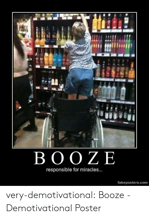 demotivational: BOOZE  responsible for miracles...  fakeposters.com very-demotivational:  Booze - Demotivational Poster