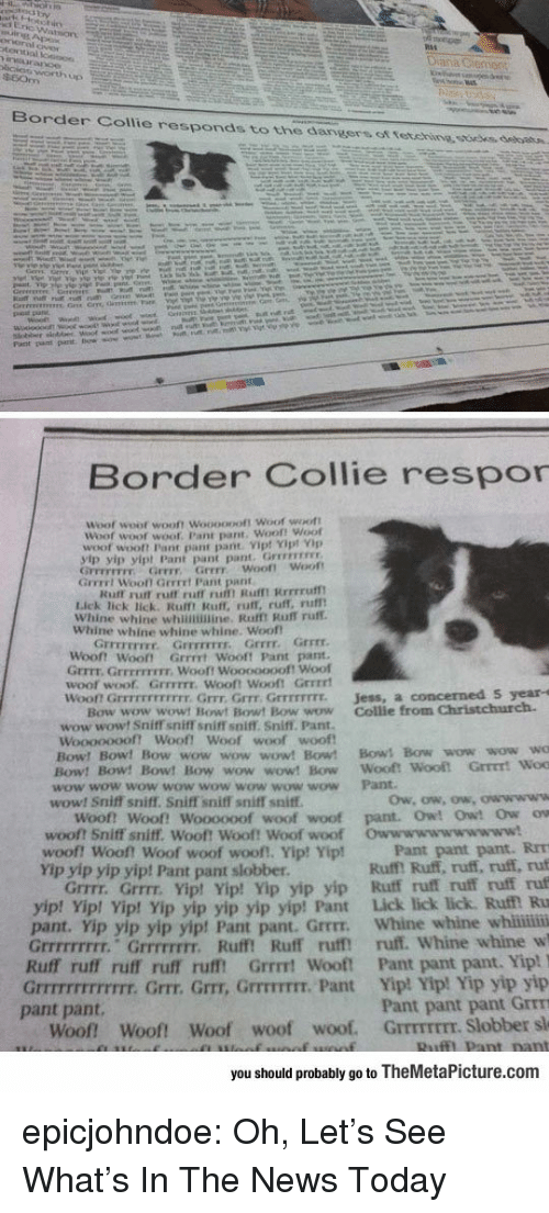 News Today: Border Collie responds to the dangers ot tetehine ssoees, debatn.  Border Collie respor  Woof  woot wooft Woooopoft Woof woott  Woof woot  woof. Pant pant. Woof! Woof  woof wooft Pant pant pant Vip! Yipt Vp  yip yip yipt Pant pant pant. Grrevrss  GFFEFETFY Grrr Grrr woof! Woot  Grrrrt Wooll Gerrrt Pant pant  Kuff rurt ruff ruff ru Rufmt Rrrrruf  Lick lick lick. Rulft Ruff, ruff, ruff, rufl  Whine whine whinimine. Rafft Ruff ruff.  Whine whine whine whine. Woof  Grrrr.  『rrrrrrrr.  Grrrrrrrr,  Grrrr  Woont Woot Grrrrt Wooft Pant pant  Grrrt. GrrEFFIEIr. Wooft Wooooooof! Woof  woof woof. GrrFITE. Wooft Wooft Grrrrt  won Grrrrrrrrrrrr. Grrr, Grrr Grrrrrrrr.  Jess, a concerned S year-s  Bow wow wowt Bowt Bowt Bow wow Collie from Christchurch.  wow wowt Sniff sniff sniffT soiff. Sniff. Pant.  woof woof  Woooooooft Woof! Woof  Bow! Bow! Bow wow wow wow! Bow! Bows Bow wow wow wo  Bow! Bow! Bow! Bow wow wow! Bow Wooft  wow wow wow wow wow wow wow wow Pant  wow! Sniff sniff. Sniff sniff sniff sniff  Woof! Woof! Woooooof woof woof pant. Owt Owt Ow ow  woof? Sniff sniff. Woof! Woof! Woof woof  woof! woof! Woof woof woof!, Yip! Yip!  Yip yip yip yip! Pant pant slobber  Owwwwwwwwwww!  Pant pant pant. RrT  Ruff! Ruff, ruff, ruff, ruf  Grrrr. Grrrr. Yipt Yip! Yip yip yip Ruff ruff ruff ruff ruf  p! Vip! Yip yip yip yip yip! Pant Lick lick lick. Ruf Ru  pant. Yip yip yip yip! Pant pant. Grrrr. Whine whine whii  Grrrrrrrrr. Grrrrrrrr. Ruff! Ruff ruff ruff. Whine whine w  Ruff ruff ruff ruff rufft Grrrt Wooft Pant pant pant. Yip!  Grrrrrrrrrrrrr. Grrr. Grr, GrrrTIT. Pant Yip! Yip! Yip yip yip  Pant pant pant Grrm  Woof Woof! Woof woof woof. GrrmrEEr. Slobber sl  yip! Yi  pant pant.  you should probably go to TheMetaPicture.com epicjohndoe:  Oh, Let's See What's In The News Today