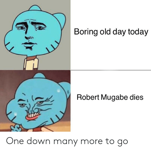 robert mugabe: Boring old day today  Robert Mugabe dies  11 One down many more to go