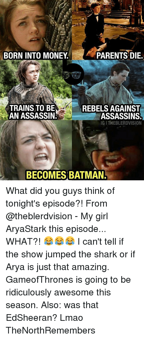 Batman, Lmao, and Memes: BORN INTO MONEY  PARENTS DIE.  TRAINS TO BE  AN ASSASSIN  REBELS AGAINST  ASSASSINS  IG I THEBLERDVISION  BECOMES BATMAN What did you guys think of tonight's episode?! From @theblerdvision - My girl AryaStark this episode... WHAT?! 😂😂😂 I can't tell if the show jumped the shark or if Arya is just that amazing. GameofThrones is going to be ridiculously awesome this season. Also: was that EdSheeran? Lmao TheNorthRemembers