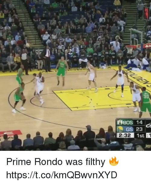 Rondo, Priming, and Bos: Bos 14  GS 23  2:32 1st Prime Rondo was filthy 🔥 https://t.co/kmQBwvnXYD