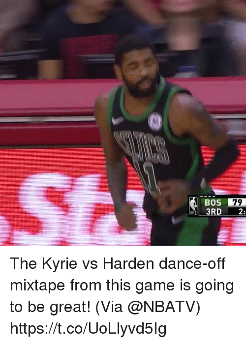 dance off: BOS  3RD 2:  79 The Kyrie vs Harden dance-off mixtape from this game is going to be great!    (Via @NBATV) https://t.co/UoLlyvd5Ig