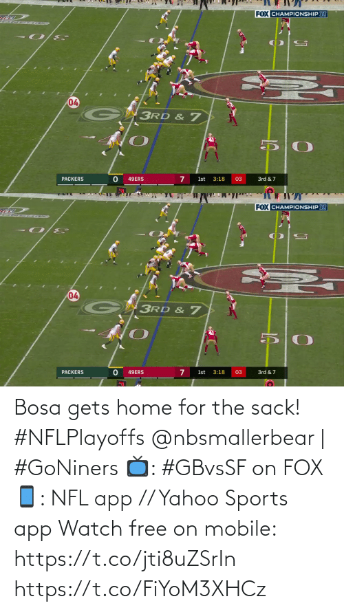 Mobile: Bosa gets home for the sack! #NFLPlayoffs  @nbsmallerbear | #GoNiners  📺: #GBvsSF on FOX 📱: NFL app // Yahoo Sports app Watch free on mobile: https://t.co/jti8uZSrIn https://t.co/FiYoM3XHCz