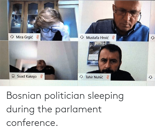 politician: Bosnian politician sleeping during the parlament conference.