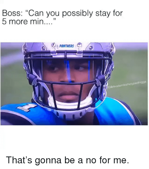 "Memes, Panthers, and 🤖: Boss: ""Can you possibly stay for  5 more min  PANTHERS  gga  G@Akademiksthetypeotn That's gonna be a no for me."