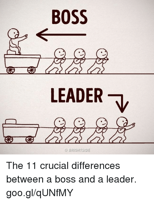 the differences between a boss and a leader Not all bosses are great leaders and not all leaders are bosses do you know the difference between a boss and a leader which should you aspire to be everyone has a boss even bosses have bosses whether they work for major corporations or small businesses owners of such enterprises themselves.