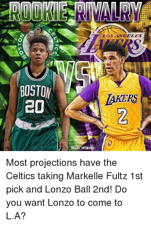 Memes, 🤖, and Ball: BOSTON  CO  LOS ANGELES  LaHERS Most projections have the Celtics taking Markelle Fultz 1st pick and Lonzo Ball 2nd! Do you want Lonzo to come to L.A?
