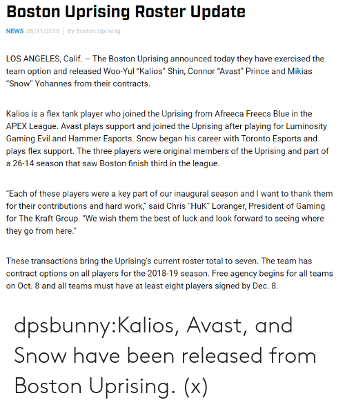 "Best Of Luck: Boston Uprising Roster Update  NEWS 08/31/2018By Boston Uprising  LOS ANGELES, Calif. The Boston Uprising announced today they have exercised the  team option and released Woo-Yul ""Kalios"" Shin, Connor ""Avast Prince and Mikias  ""Snow"" Yohannes from their contracts.  Kalios is a flex tank player who joined the Uprising from Afreeca Freecs Blue in the  APEX League. Avast plays support and joined the Uprising after playing for Luminosity  Gaming Evil and Hammer Esports. Snow began his career with Toronto Esports and  plays flex support. The three players were original members of the Uprising and part of  a 26-14 season that saw Boston finish third in the league.  Each of these players were a key part of our inaugural season and I want to thank them  for their contributions and hard work,"" said Chris ""HuK"" Loranger, President of Gaming  for The Kraft Group. ""We wish them the best of luck and look forward to seeing where  they go from here.""  These transactions bring the Uprising's current roster total to seven. The team has  contract options on all players for the 2018-19 season. Free agency begins for all teams  on Oct. 8 and all teams must have at least eight players signed by Dec. 8. dpsbunny:Kalios, Avast, and Snow have been released from Boston Uprising. (x)"