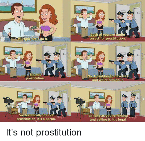 ming: Both of you are under  arrest for prostitution.  All right, let's do it.  tis not  prostitution.  oL paid her to have sex  Sop technicallyit's no  prostitution, it's a porno.  as long as you're ming dlobe  and selling it, it's legal It's not prostitution