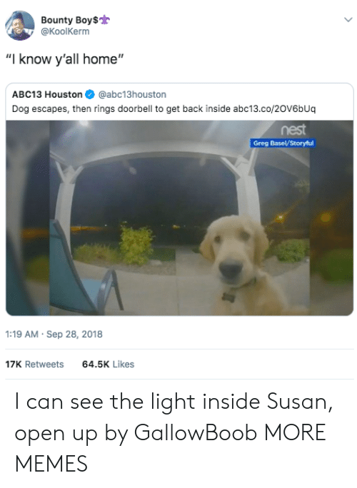 """See The Light: Bounty Boy$  @KoolKerm  """"I know y'all home""""  ABC13 Houston@abc13houston  Dog escapes, then rings doorbell to get back inside abc13.co/20V6bUq  nest  :19 AM Sep 28, 2018  17K Retweets  64.5K Likes I can see the light inside Susan, open up by GallowBoob MORE MEMES"""