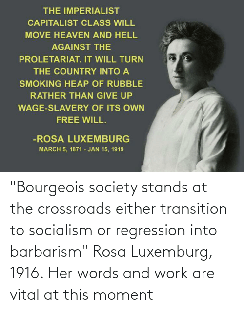 "Rosa: ""Bourgeois society stands at the crossroads either transition to socialism or regression into barbarism"" Rosa Luxemburg, 1916. Her words and work are vital at this moment"