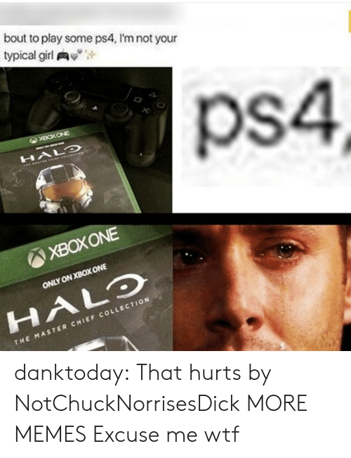 """xbox one: bout to play some ps4, I'm not your  typical girl y"""",  ps4  XBOXONE  ONLY ON XBOX ONE  HALO  CHI  THE MASTER CHIEF COLLECTION danktoday:  That hurts by NotChuckNorrisesDick MORE MEMES  Excuse me wtf"""