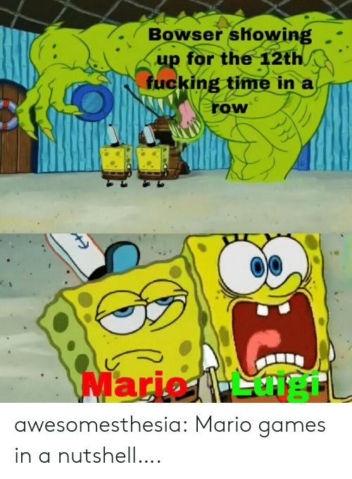 Bowser: Bowser showing  up for the 12th  fucking time in a  row  Mario 1- heTL awesomesthesia:  Mario games in a nutshell….