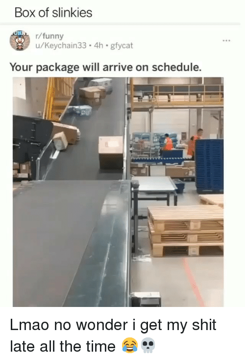 Funny, Lmao, and Shit: Box of slinkies  /funny  u/Keychain33.4h gfycat  Your package will arrive on schedule. Lmao no wonder i get my shit late all the time 😂💀