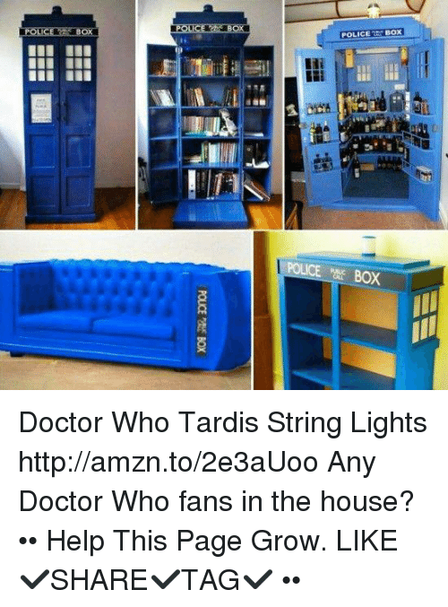 String Lights House Doctor : BOX POLICE BOX Doctor Who Tardis String Lights Httpamznto2e3aUoo Any Doctor Who Fans in the ...