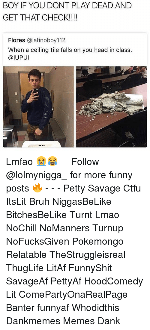 Hoodcomedy: BOY IF YOU DONT PLAY DEAD AND  GET THAT CHECK!!!!  Flores @latinoboy112  When a ceiling tile falls on you head in class.  @IUPUI Lmfao 😭😂 ‍ ‍ ⁶𓅓 ➫➫ Follow @lolmynigga_ for more funny posts 🔥 - - - Petty Savage Ctfu ItsLit Bruh NiggasBeLike BitchesBeLike Turnt Lmao NoChill NoManners Turnup NoFucksGiven Pokemongo Relatable TheStruggleisreal ThugLife LitAf FunnyShit SavageAf PettyAf HoodComedy Lit ComePartyOnaRealPage Banter funnyaf Whodidthis Dankmemes Memes Dank