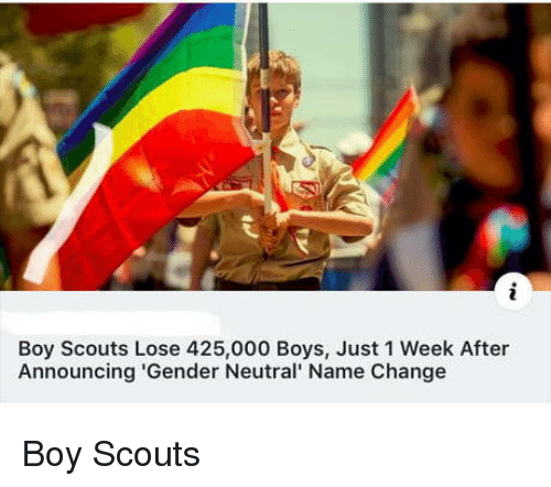 gender neutral: Boy Scouts Lose 425,000 Boys, Just 1 Week After  Announcing 'Gender Neutral' Name Change Boy Scouts