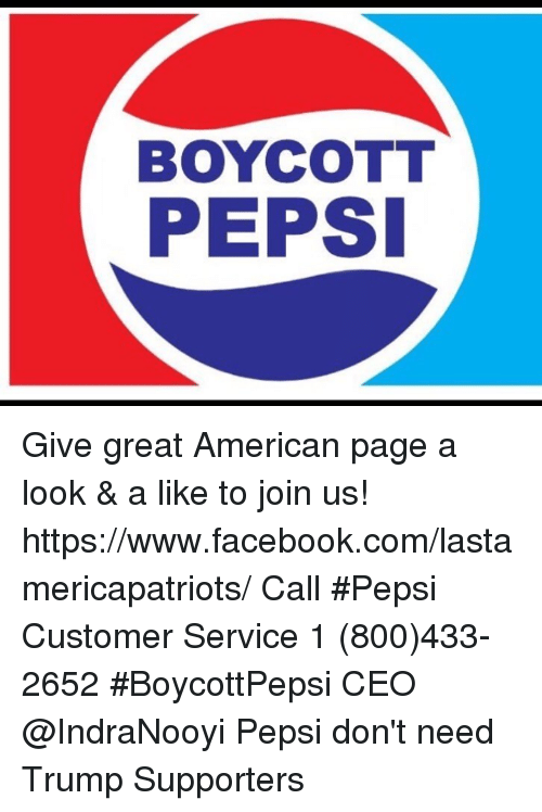 Memes Meme: BOYCOTT PEPSI Give Great American Page a Look & a Like ...