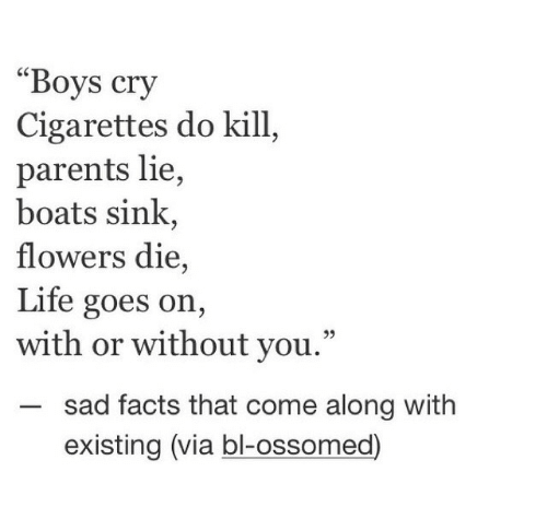 "Without You: ""Boys cry  Cigarettes do kill  parents lie,  boats sink,  flowers die,  Life goes on,  with or without you.""  sad facts that come along with  existing (via bl-ossomed)"