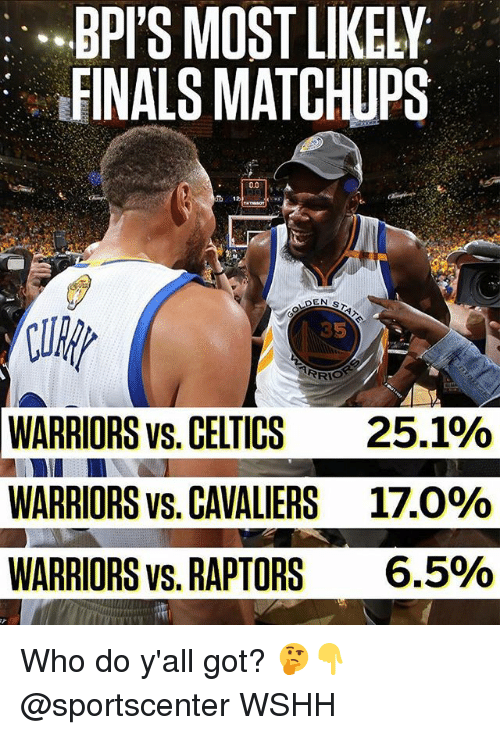 Finals, Memes, and SportsCenter: BPI'S MOST LIKELY  FINALS MATCHUPS  lul  WARRIORS vs. CELTICS  WARRIORS vs. CAVALIERS  WARRIORS vs. RAPTORS  35  25.1%  17.0%  6.5% Who do y'all got? 🤔👇 @sportscenter WSHH