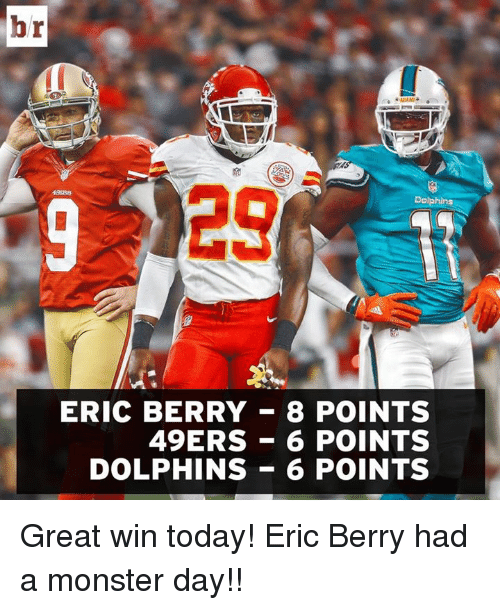 49er: br  129  Dolphins  ERIC BERRY 8 POINTS  49ERS 6 POINTS  DOLPHINS 6 POINTS Great win today!  Eric Berry had a monster day!!