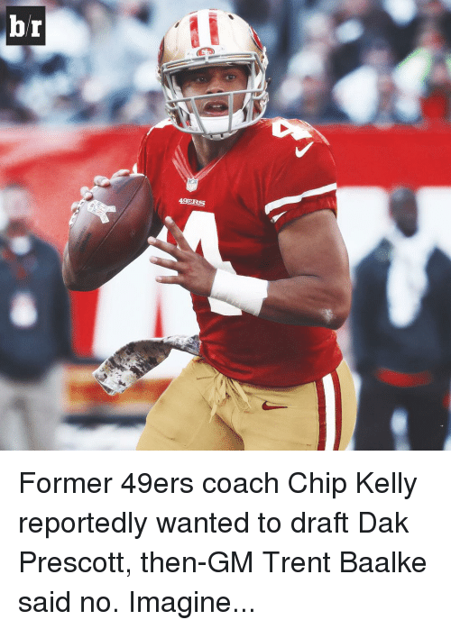 Chip Kelly: br  49ERS Former 49ers coach Chip Kelly reportedly wanted to draft Dak Prescott, then-GM Trent Baalke said no. Imagine...