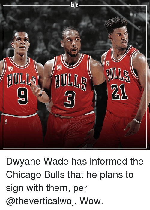 Chicago, Chicago Bulls, and Dwyane Wade: br  50  13ULI BULLS  7ー57  ーーー  r  b  3  )D  PEI  CED  [미미  Lay 一口口 Dwyane Wade has informed the Chicago Bulls that he plans to sign with them, per @theverticalwoj. Wow.