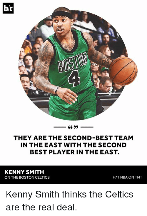 Celtics: br  66 99  THEY ARE THE SECOND BEST TEAM  IN THE EAST WITH THE SECOND  BEST PLAYER IN THE EAST.  KENNY SMITH  H/T NBA ON TNT  ON THE BOSTON CELTICS Kenny Smith thinks the Celtics are the real deal.