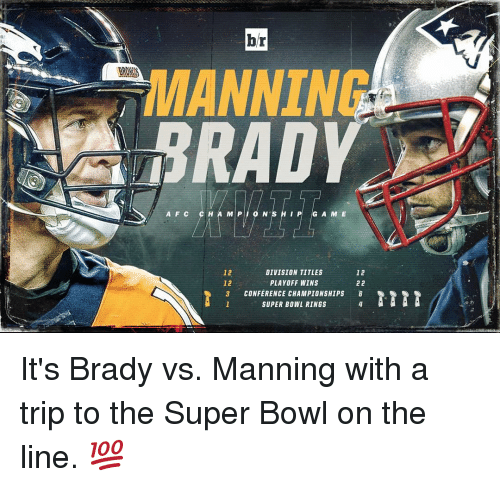 super bowl rings: br  ANNIN  RAD  A F C C H A M P O N S H I P G A M E  12  DIVISION TITLES  12  22  PLAYOFF WINS  3 CONFERENCE CHAMPIONSHIPS  SUPER BOWL RINGS It's Brady vs. Manning with a trip to the Super Bowl on the line. 💯