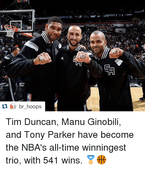 Tim Duncan: br br hoops  ti AN ANTONIO COM Tim Duncan, Manu Ginobili, and Tony Parker have become the NBA's all-time winningest trio, with 541 wins. 🏅🏀