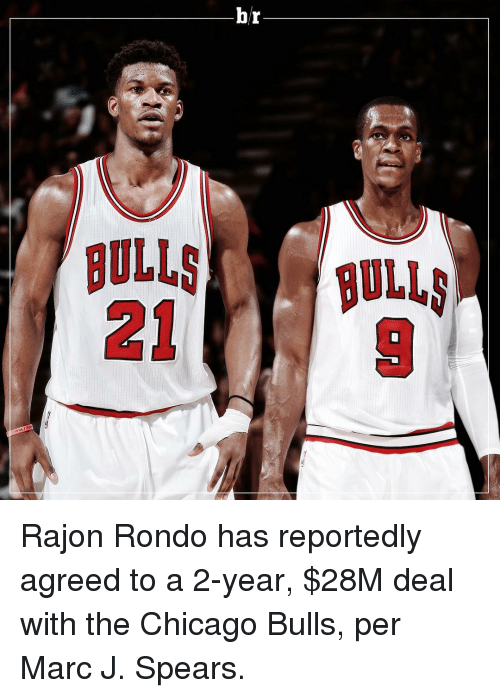 Chicago, Chicago Bulls, and Rajon Rondo: br  BULLS BULLS  ー Rajon Rondo has reportedly agreed to a 2-year, $28M deal with the Chicago Bulls, per Marc J. Spears.