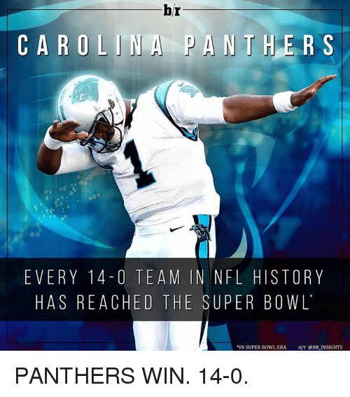 carolina panther: br  CAROLINA PANTHER S  EVERY 14 O TEAM IN NFL HISTORY  HAS REACHED THE SUPER BOWL  N SUPER BOWL ERA  HVT @BR INSIGHTS PANTHERS WIN. 14-0.