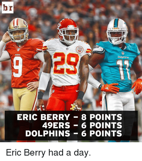 49er: br  Dolphins  ERIC BERRY 83 POINTS  49ERS 6 POINTS  DOLPHINS 6 POINTS Eric Berry had a day.