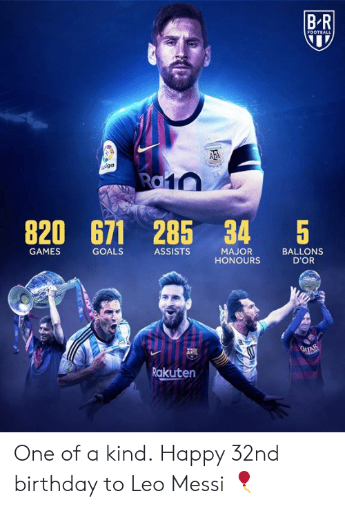 rakuten: BR  FOOTBALL  AFA  iga  Ra10  820  671 285 34  $5  GAMES  GOALS  ASSISTS  MAJOR  HONOURS  BALLONS  D'OR  O4TAM  Rakuten One of a kind.  Happy 32nd birthday to Leo Messi 🎈