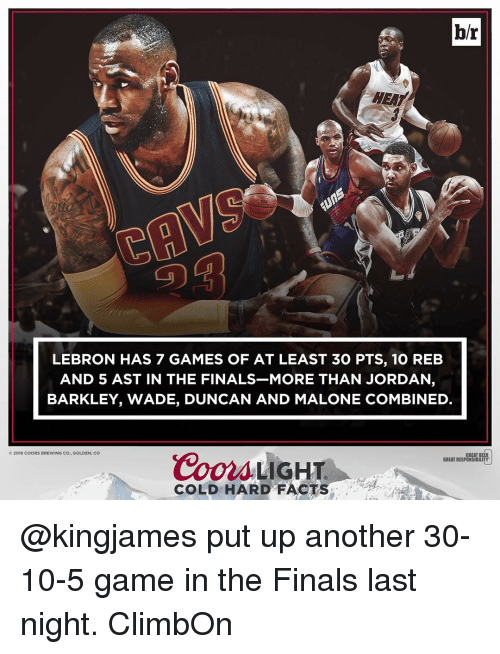 Facts, Finals, and Jordans: br  HEAT  LEBRON HAS 7 GAMES OF AT LEAST 30 PTS, 10 REB  AND 5 AST IN THE FINALS MORE THAN JORDAN  BARKLEY, WADE, DUNCAN AND MALONE COMBINED.  2016 COORS BREWING CO., GOLDEN, CO  Coors LIGHT  GREAT B  GREAT RESPONSIBILITY  COLD HARD FACT @kingjames put up another 30-10-5 game in the Finals last night. ClimbOn