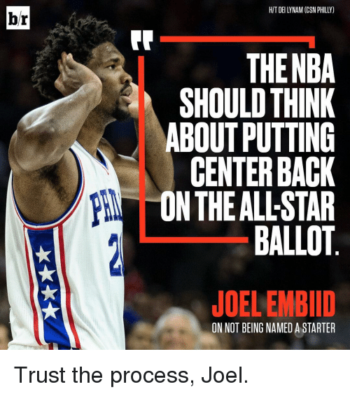 Phillied: br  HIT DEI LYNAM (CSN PHILLY)  THE NBA  SHOULD THINK  ABOUT PUTTING  CENTER BACK  ON THE ALLSTAR  BALLOT  JOELEMBID  ON NOT BEING NAMED A STARTER Trust the process, Joel.