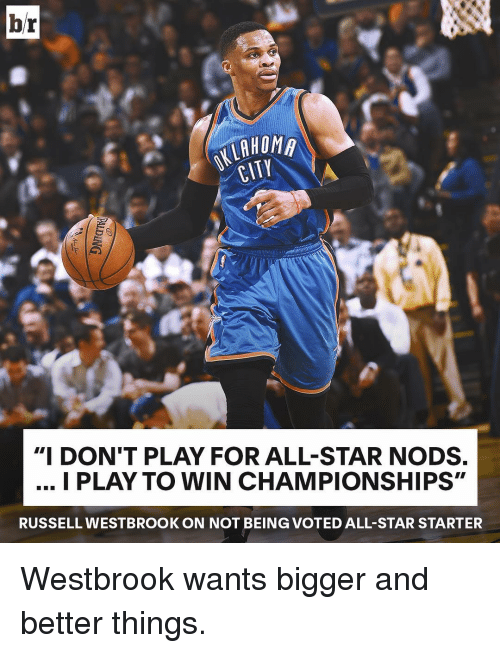 """Russel Westbrook: br  HOMA  CITY  """"I DON'T PLAY FOR ALL-STAR NODS.  I PLAY TO WIN CHAMPIONSHIPS""""  RUSSELL WESTBROOK ON NOT BEIN (GVOTED ALL-STAR STARTER Westbrook wants bigger and better things."""
