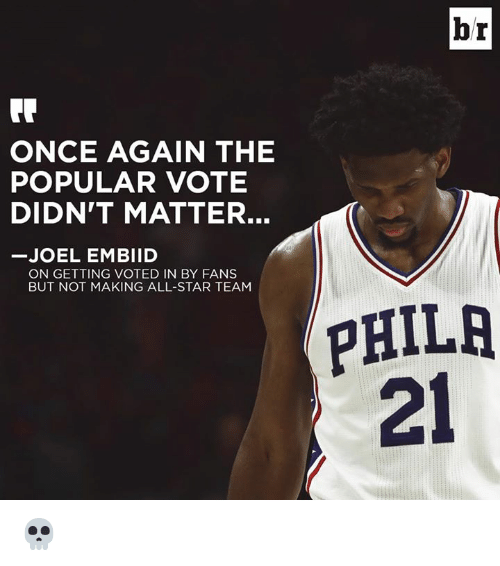 Popular Vote: br  ONCE AGAIN THE  POPULAR VOTE  DIDN'T MATTER.  JOEL EMBIID  ON GETTING VOTED IN BY FANS  BUT NOT MAKING ALL-STAR TEAM  PHILR  21 💀