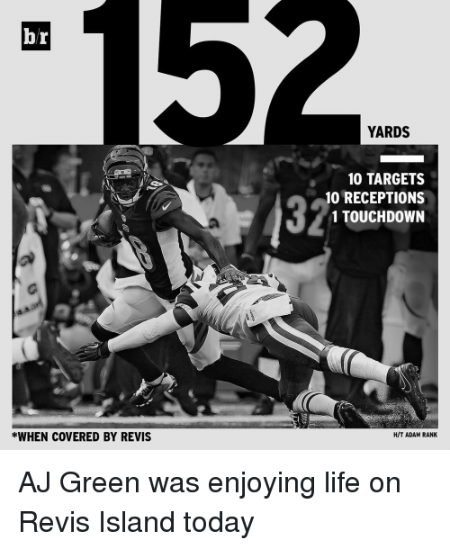 revy: br  *WHEN COVERED BY REVIS  YARDS  10 TARGETS  10 RECEPTIONS  1 TOUCHDOWN  HIT ADAM RANK AJ Green was enjoying life on Revis Island today