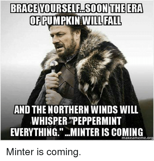 """memes: BRACE YOURSELF SOON THE ERA  OF PUMPKIN WILL FALL  AND THE NORTHERN WINDS WILL  WHISPER """"PEPPERMINT  EVERYTHING."""" MINTER IS COMING  makea meme org Minter is coming."""