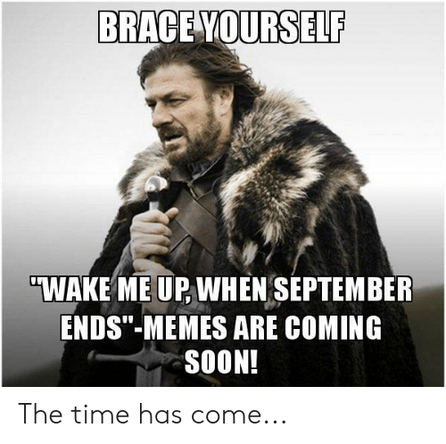 "wake me up when september ends: BRACE YOURSELF  ""WAKE ME UP WHEN SEPTEMBER  ENDS""-MEMES ARE COMING  SOON! The time has come..."