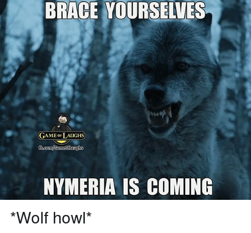 Brace Yourselves: BRACE YOURSELVES  GAME oF LAUGHS  NYMERIA IS COMING *Wolf howl*