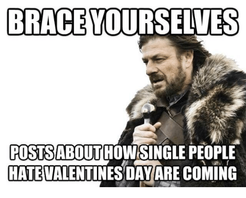 Memes, Valentine's Day, and Braces: BRACE YOURSELVES  POSTSABOUT HOW SINGLE PEOPLE  HATE VALENTINES DAY ARE COMING